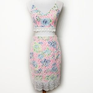NWT Lush Neon Floral Lace Two Piece Set